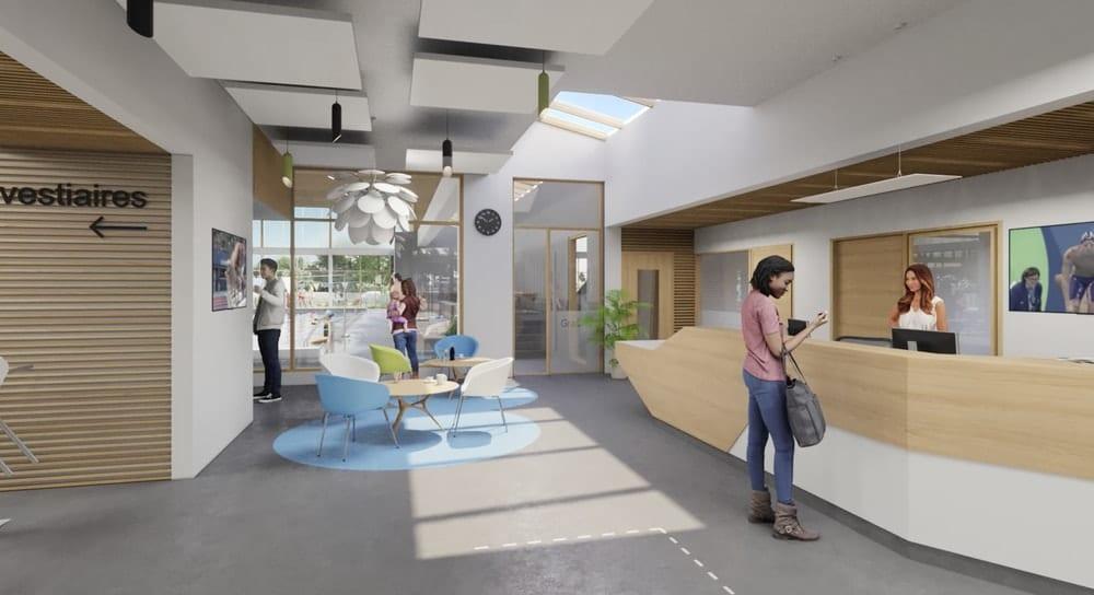 Hall d'accueil de la future piscine Salbris