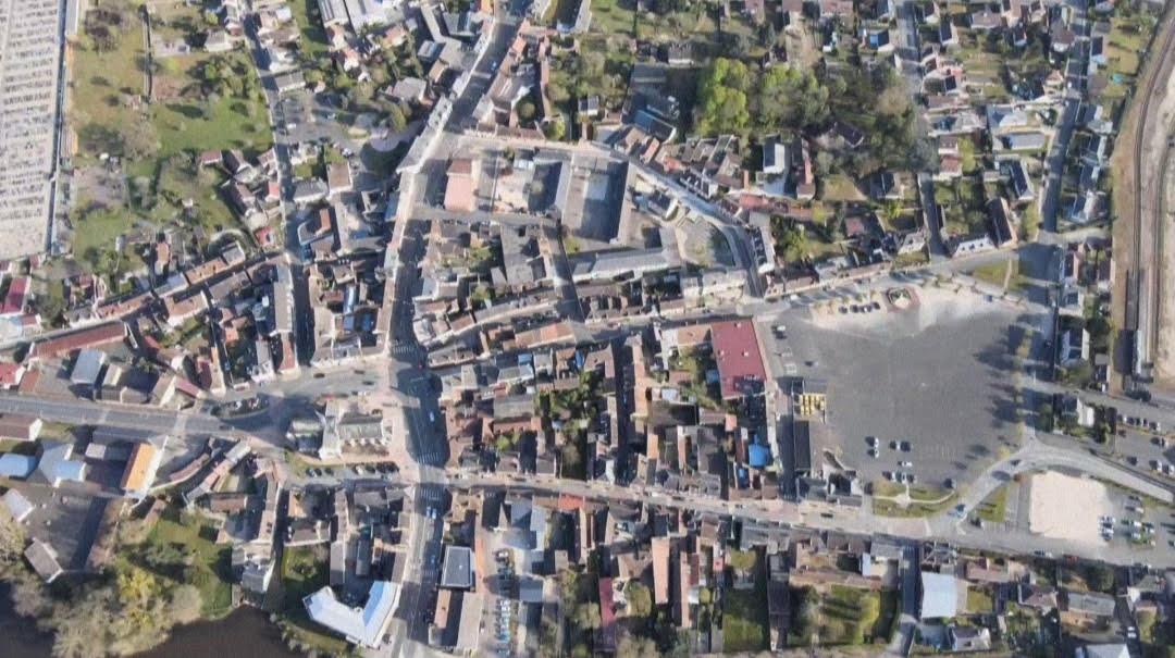 Vue aérienne quartier Centre-ville Salbris
